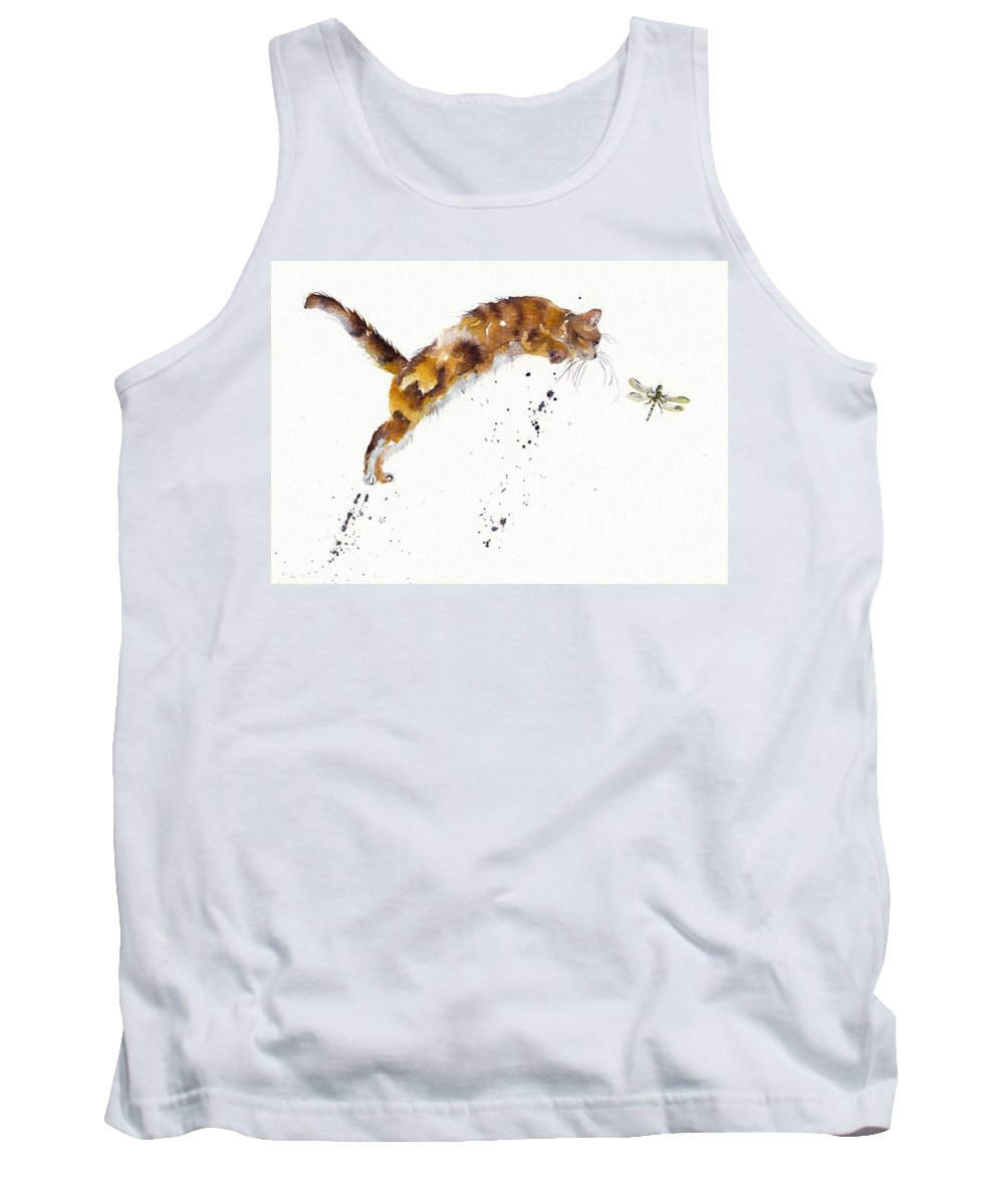 Cat Tank Top featuring the painting Chasing The Dragon by Debra Hall