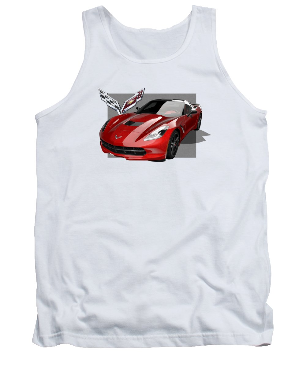 �chevrolet Corvette� By Serge Averbukh Tank Top featuring the photograph Chevrolet Corvette C 7 Stingray With 3 D Badge by Serge Averbukh