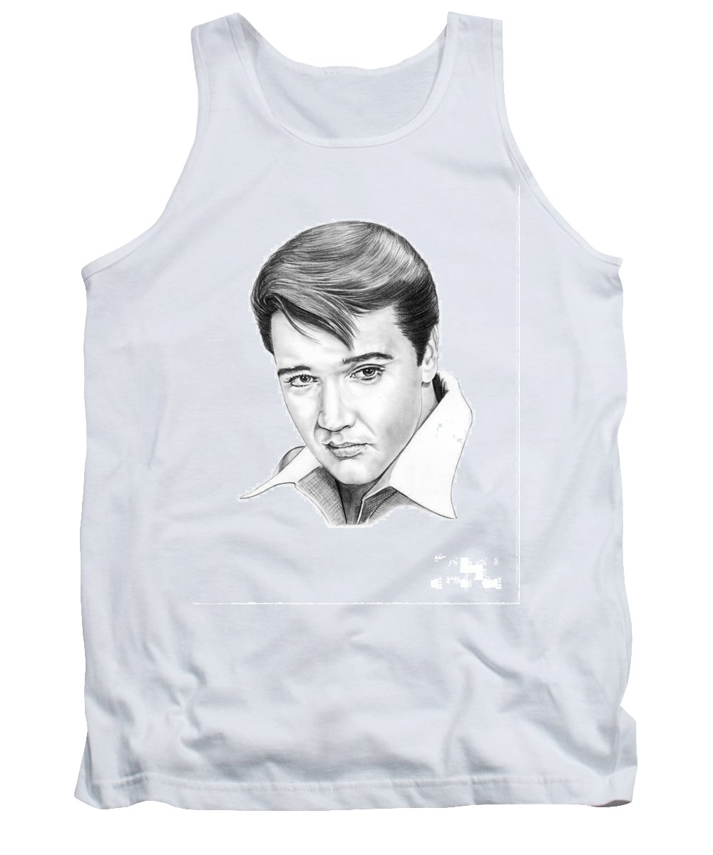 Portrait Tank Top featuring the drawing Elvis Presley by Murphy Elliott