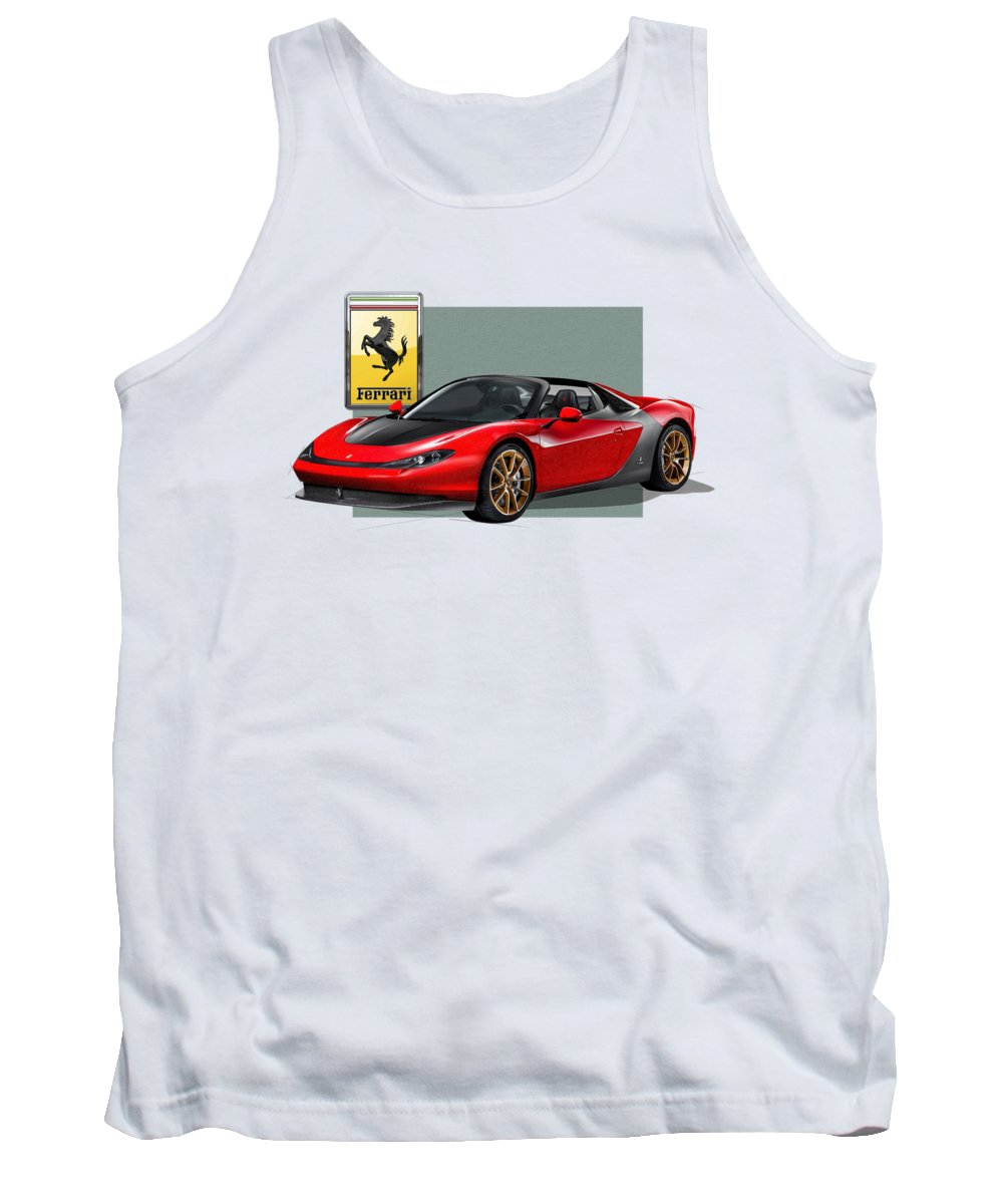 �ferrari� Collection By Serge Averbukh Tank Top featuring the photograph Ferrari Sergio With 3d Badge by Serge Averbukh