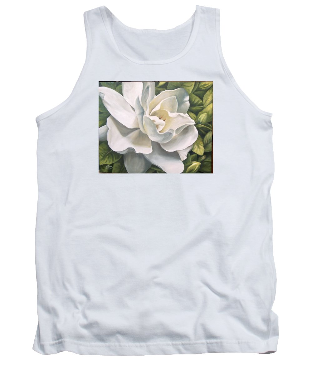 Flower Tank Top featuring the painting Gardenia by Natalia Tejera