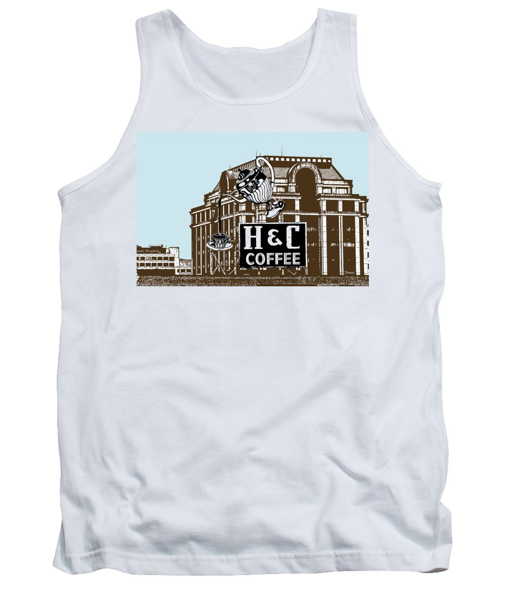 H Tank Top featuring the photograph H And C Coffee Sign Roanoke Virginia by Teresa Mucha