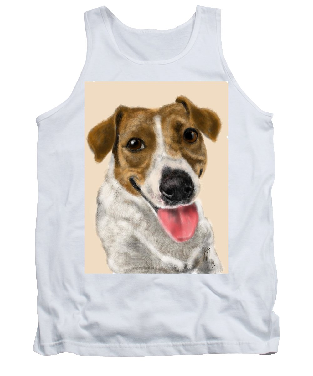 Animals Tank Top featuring the painting Happy Dog by Lois Ivancin Tavaf