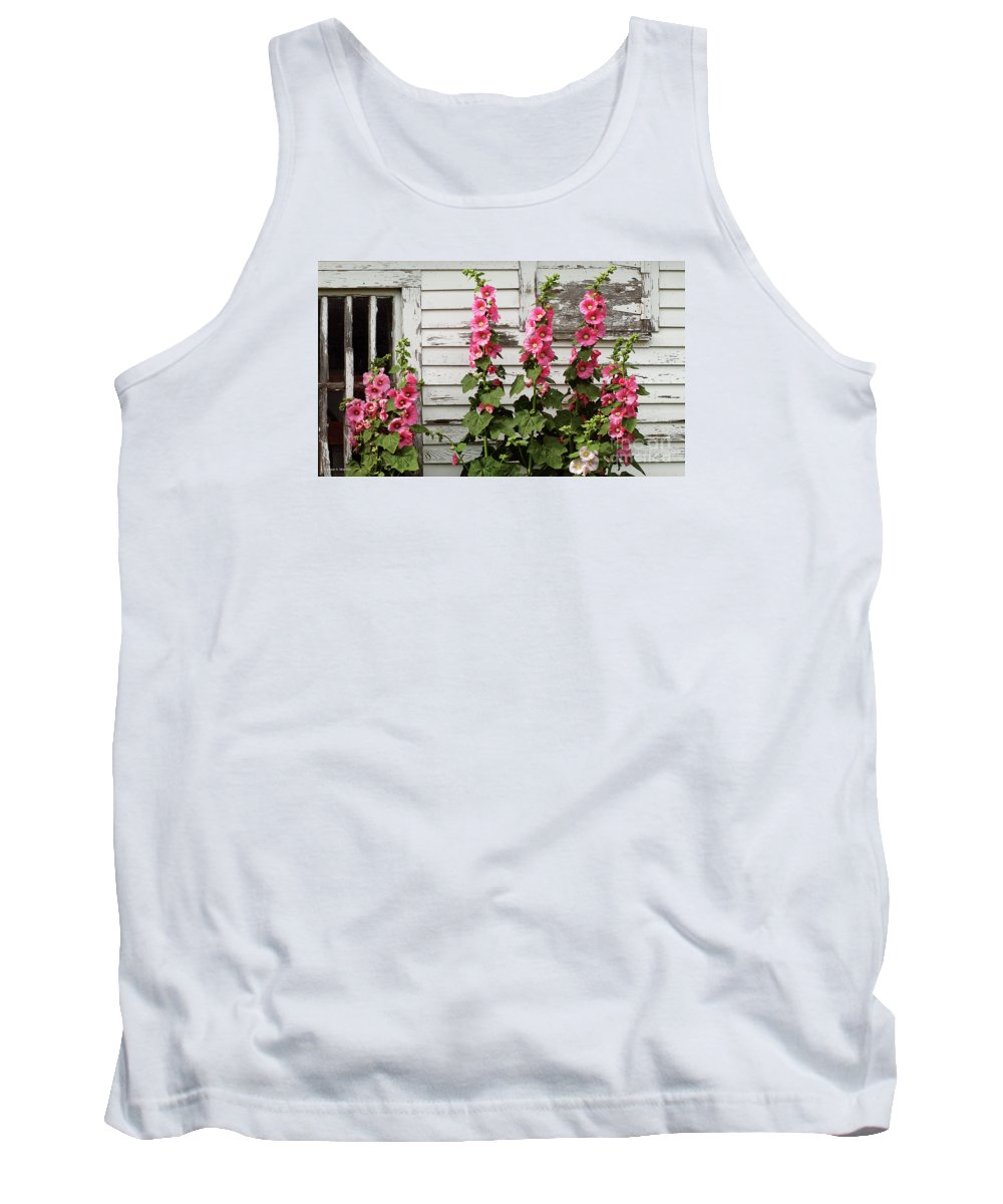 Hollyhocks Tank Top featuring the pyrography Hollyhocks by Bruce Morrison