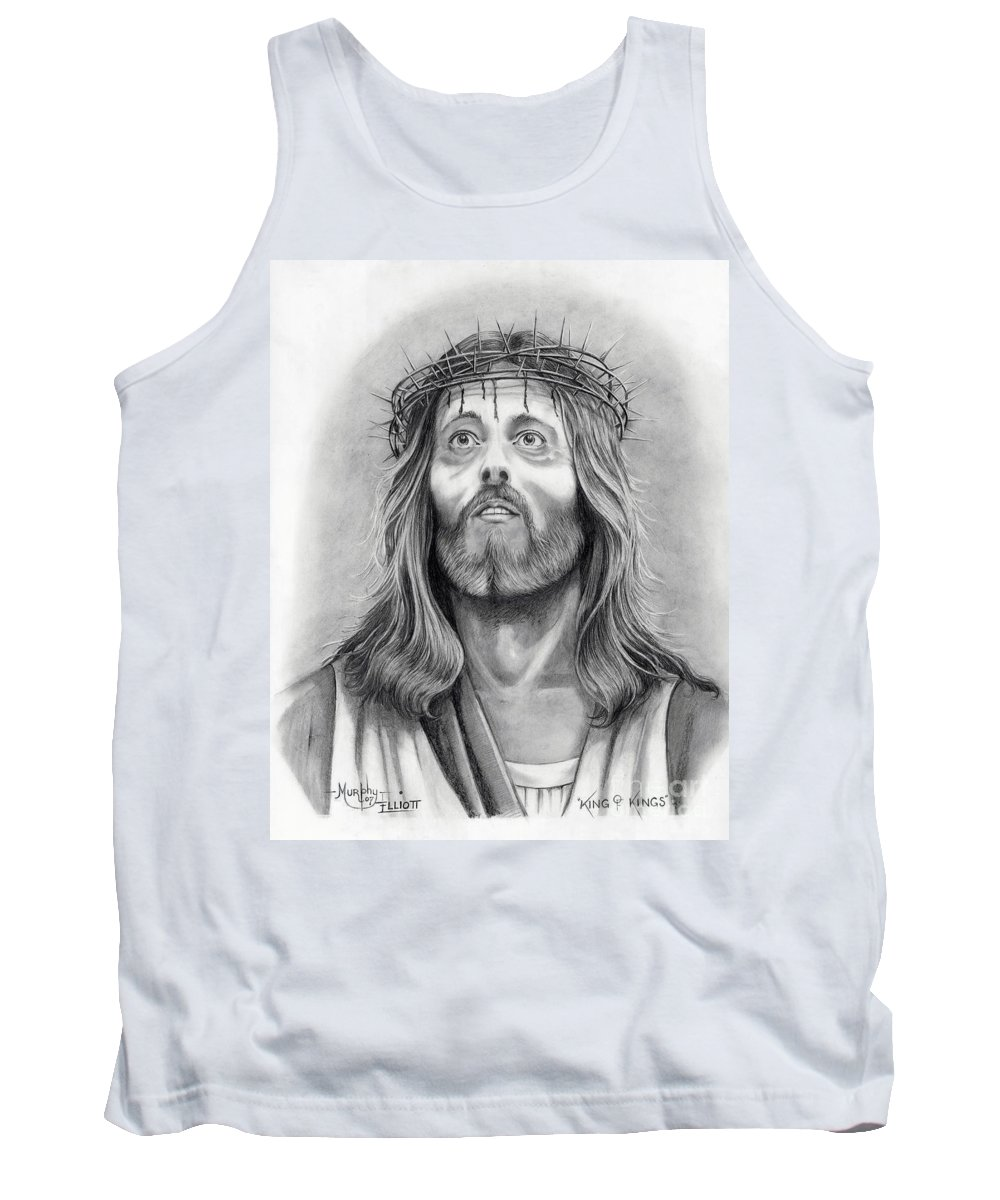 Jesus Christ Tank Top featuring the drawing King Of Kings by Murphy Elliott