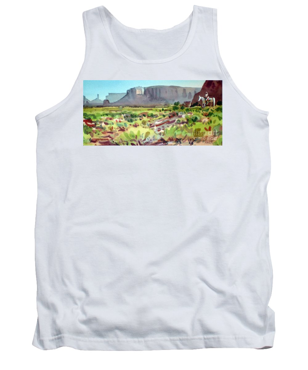 Navajo Tank Top featuring the painting Lone Rider by Donald Maier