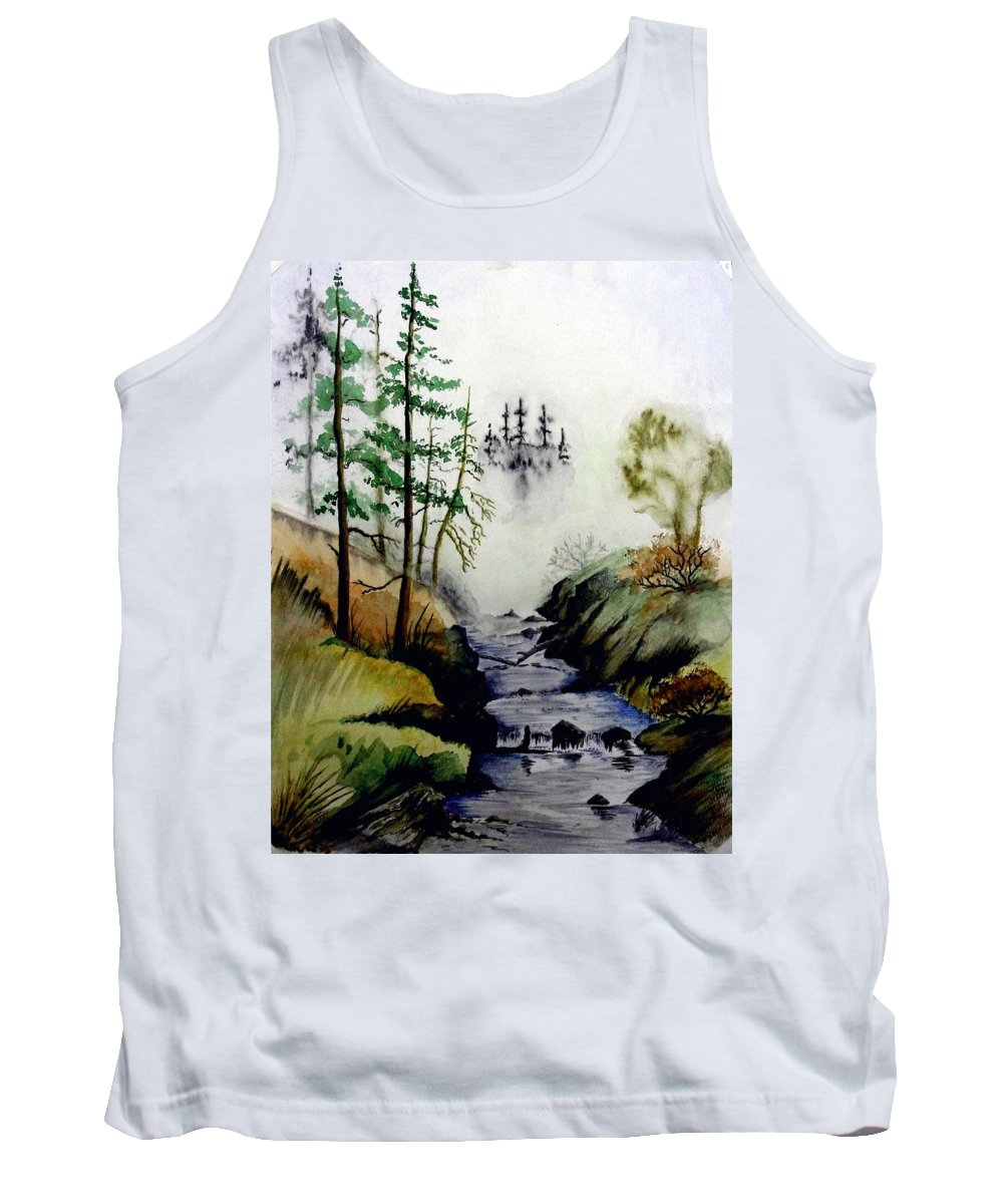 Creek Tank Top featuring the painting Misty Creek by Jimmy Smith