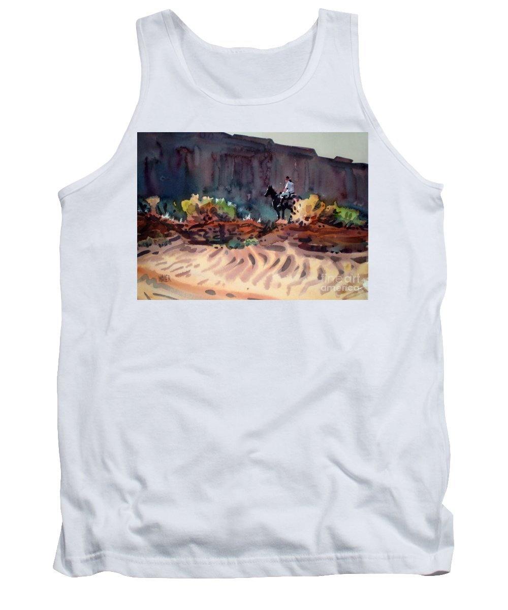 Equestrian Tank Top featuring the painting Navajo Rider by Donald Maier