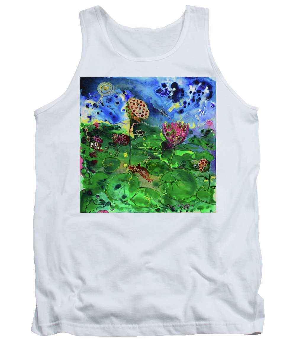 Lily Tank Top featuring the painting Lily Pops by Susan Curtin