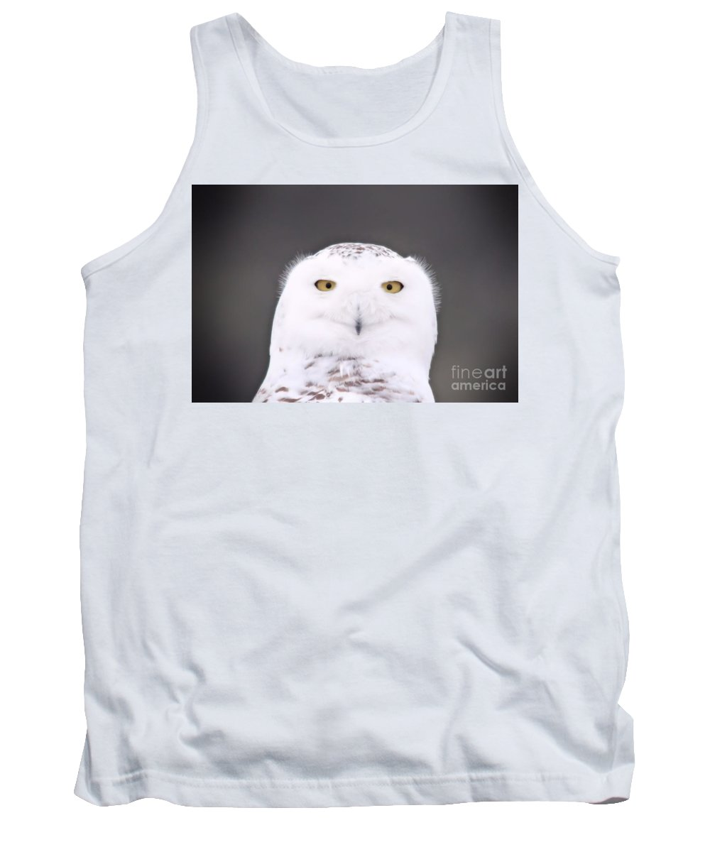 Snowy Owl Tank Top featuring the photograph Snowy Owl 3256 A.k.a. Smiling Owl by Joseph Marquis