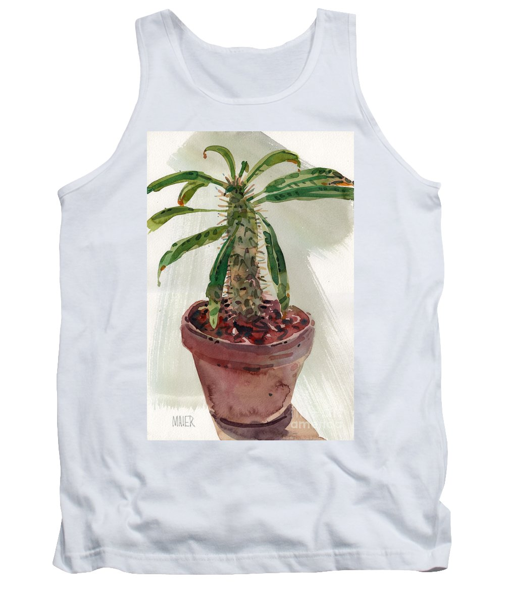 Euphorbia Tank Top featuring the painting Pachypodium by Donald Maier
