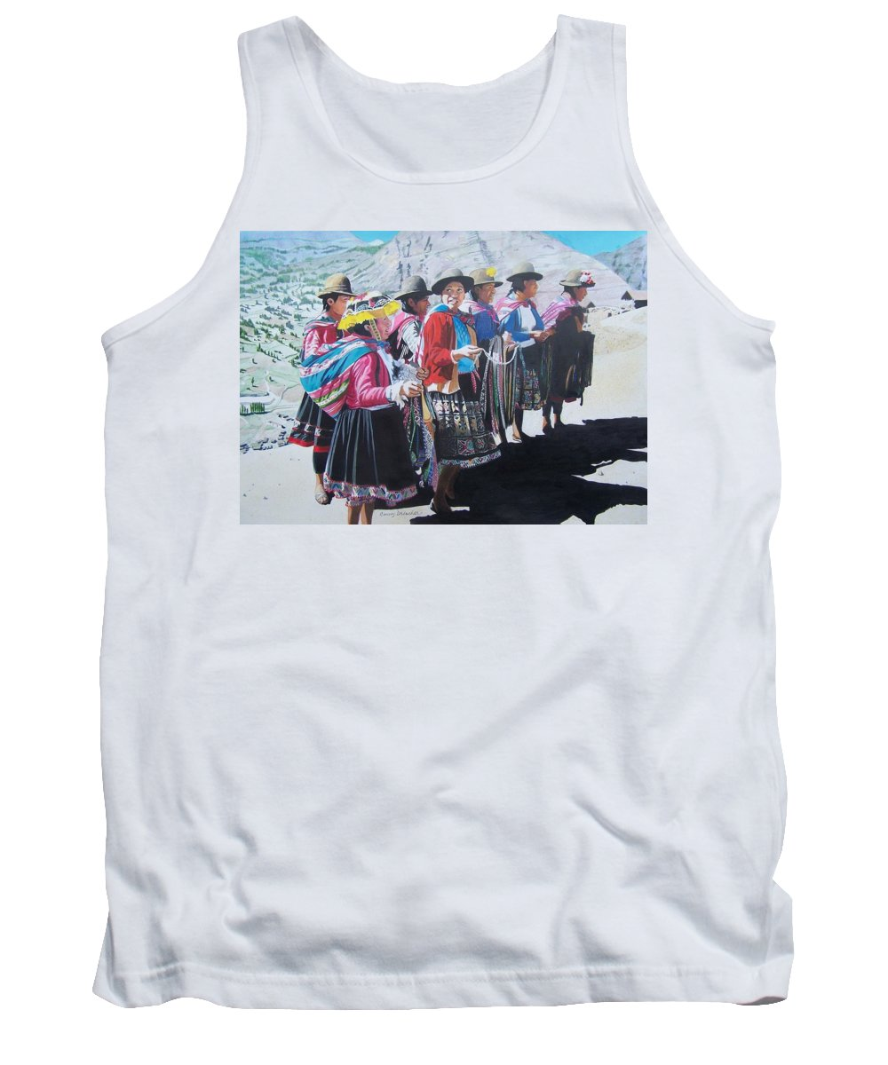 Outdoors Tank Top featuring the mixed media Peruvian Ladies by Constance Drescher