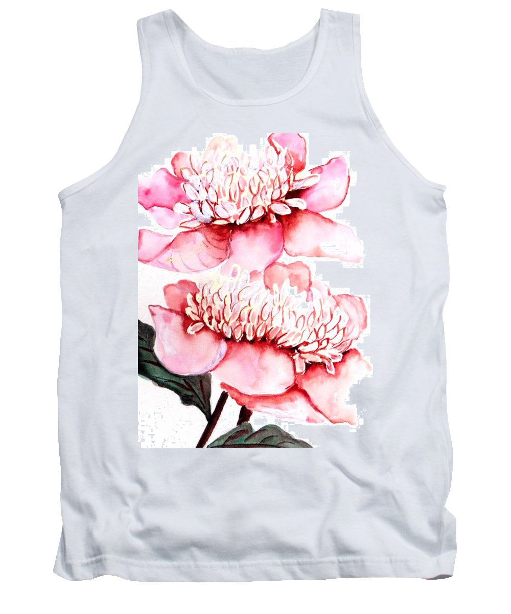 Pink Flower Tank Top featuring the painting Pink Peony 2 by Karin Dawn Kelshall- Best