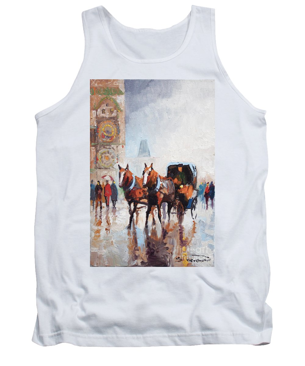 Prague Tank Top featuring the painting Prague Old Town Square by Yuriy Shevchuk