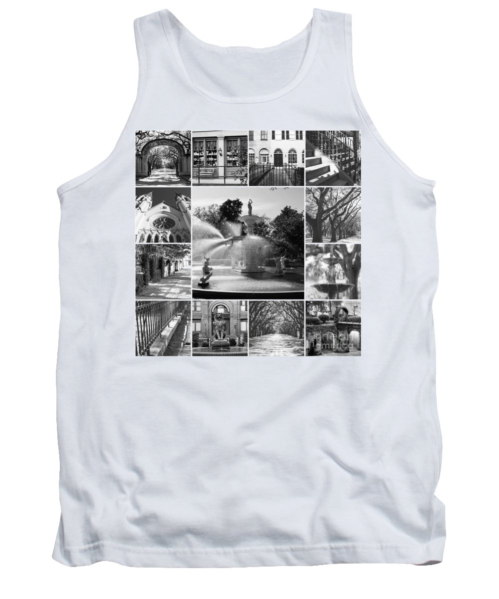 Black And White Tank Top featuring the photograph Savannah Collage Black And White by Carol Groenen
