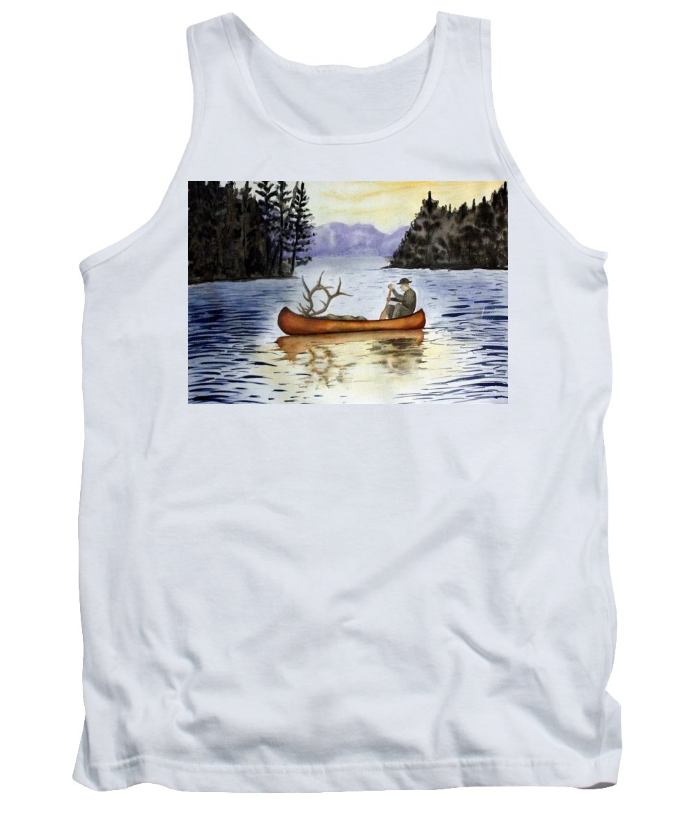 Canoe Tank Top featuring the painting Solitude by Jimmy Smith