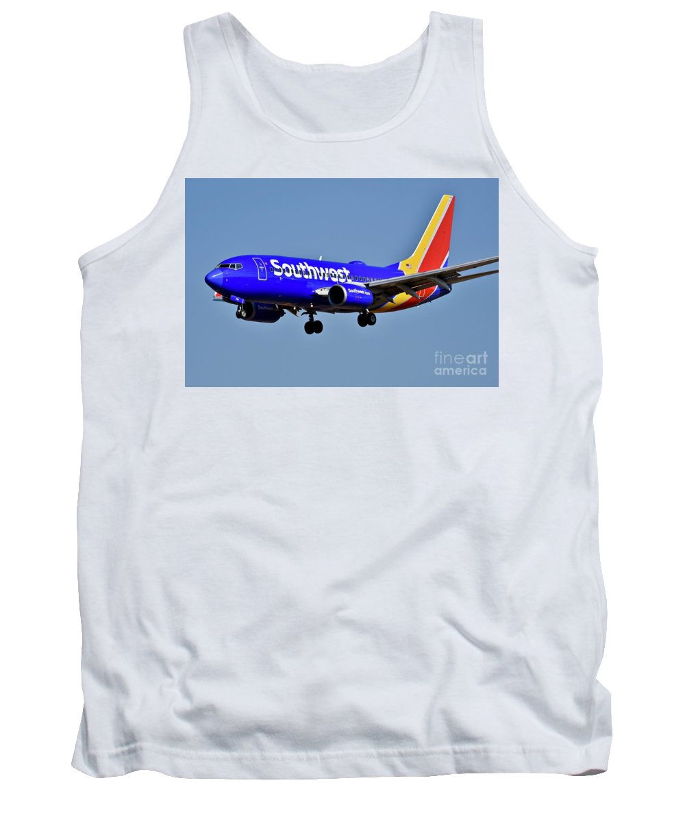 Air Transport Tank Top featuring the photograph Southwest Airlines Airplane In Flight by Jeramey Lende