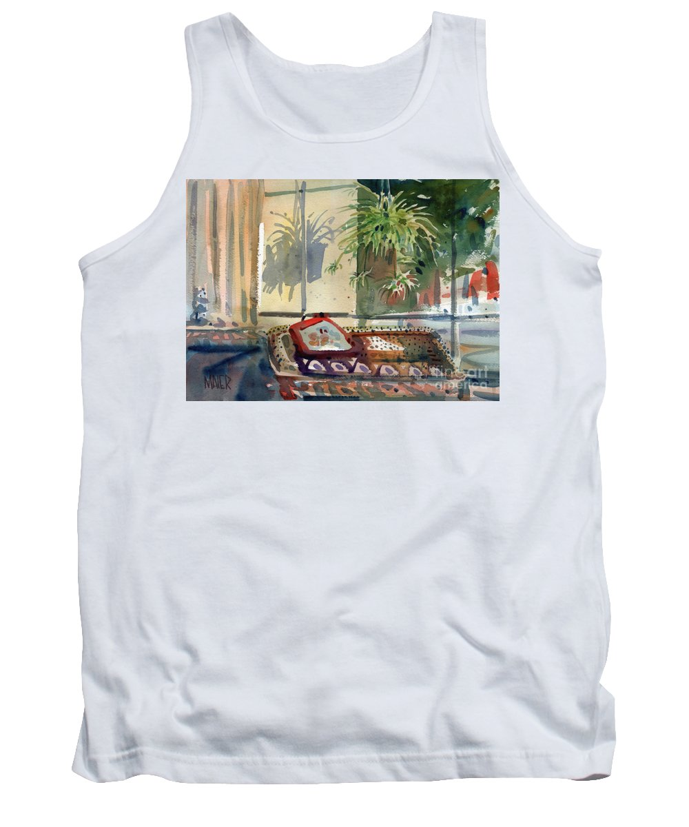 Spider Plant Tank Top featuring the painting Spider Plant In The Window by Donald Maier