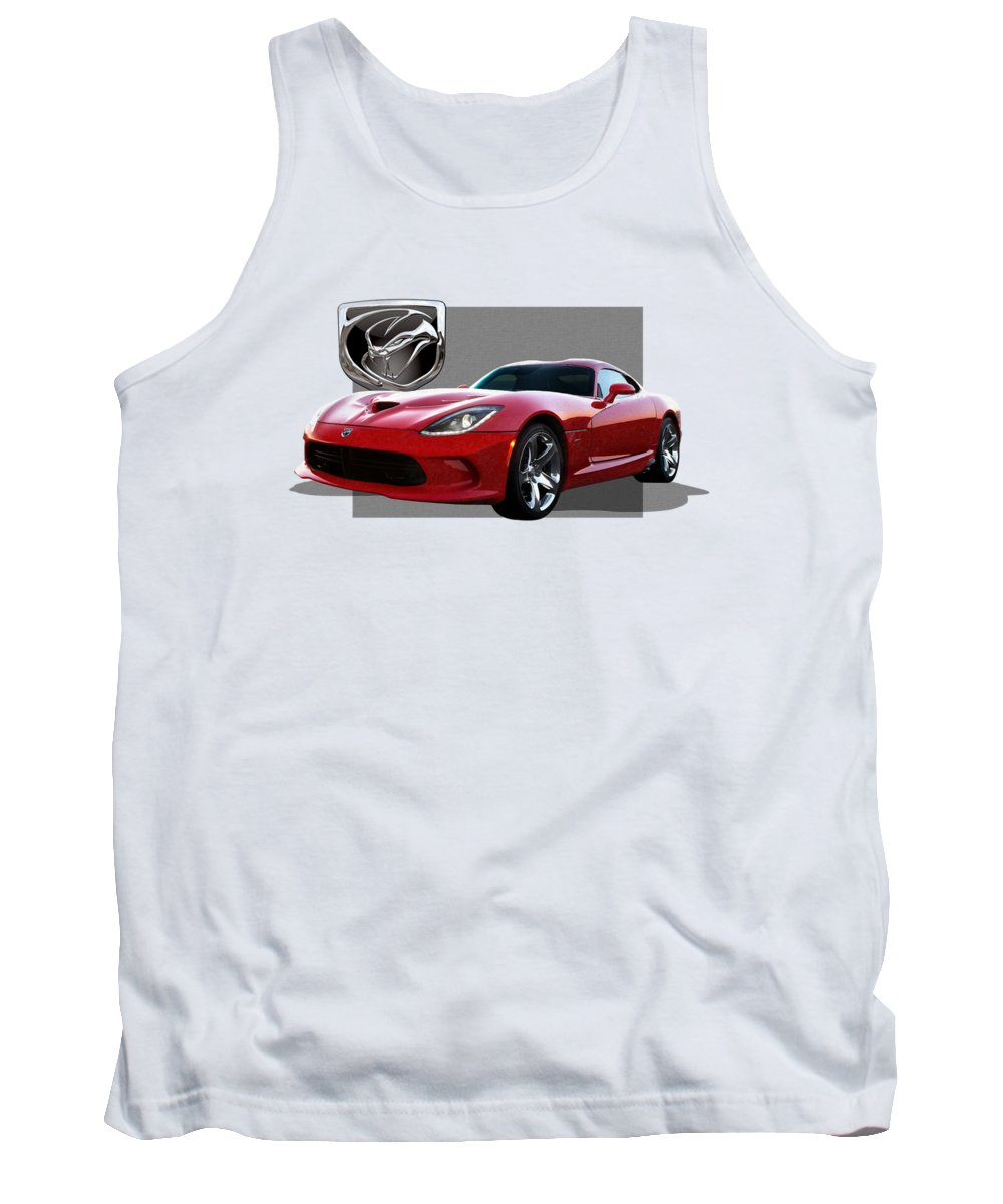'dodge Viper' By Serge Averbukh Tank Top featuring the photograph S R T Viper With 3 D Badge by Serge Averbukh