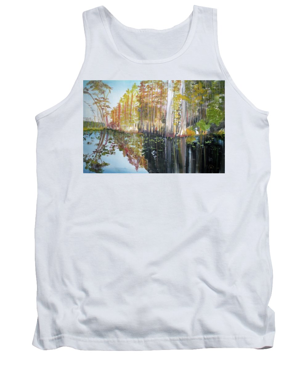 Landscape Of A South Florida Swamp At Dusk Feels Very Wild Tank Top featuring the painting Swamp Reflection by Hal Newhouser