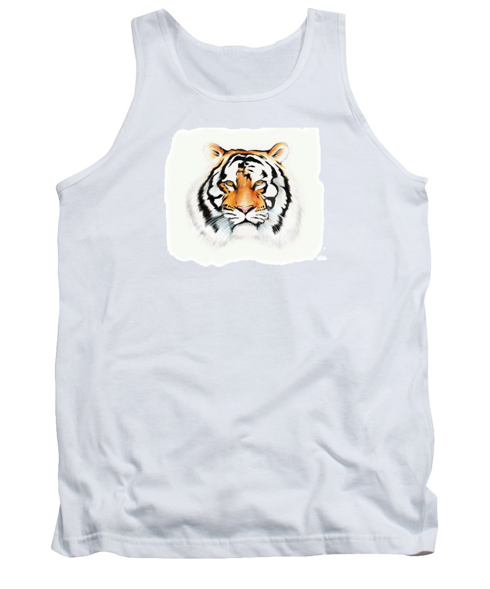 Tiger Cat Bigcat Stripes Ipadpro Ipad Paper53 Apple Pencil Tank Top featuring the drawing Tiger by Brian Gibbs