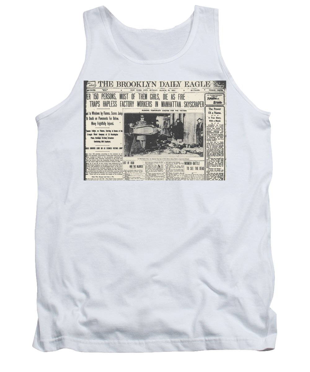 1911 Tank Top featuring the photograph Triangle Factory Fire by Granger
