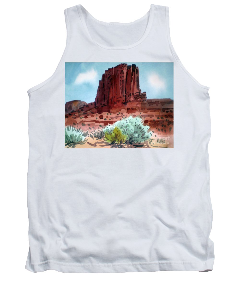 Elephants Butte Tank Top featuring the painting Two Elephants Butte by Donald Maier