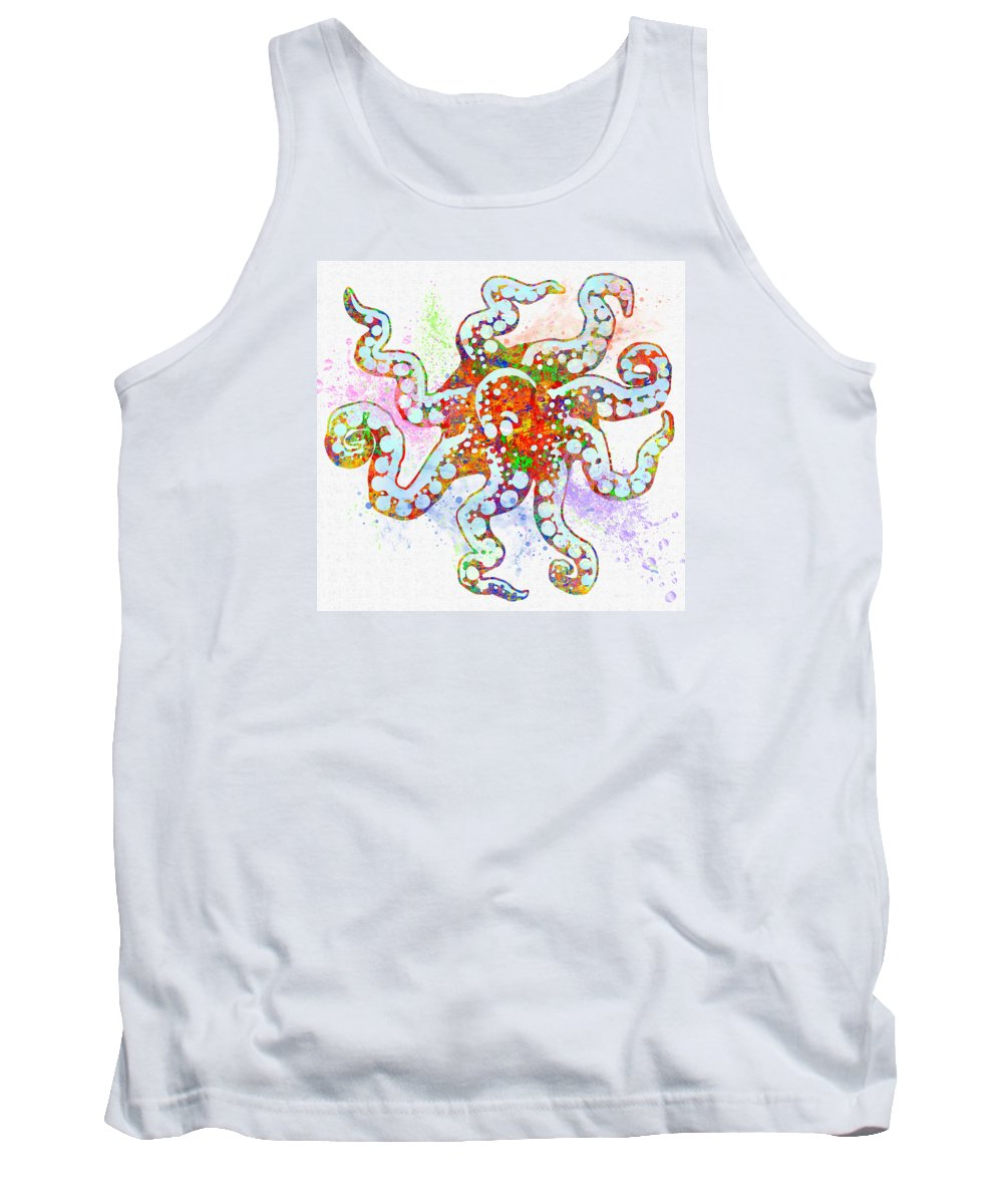 Fish Tank Top featuring the digital art Underwater. Octopus. by Elena Kosvincheva