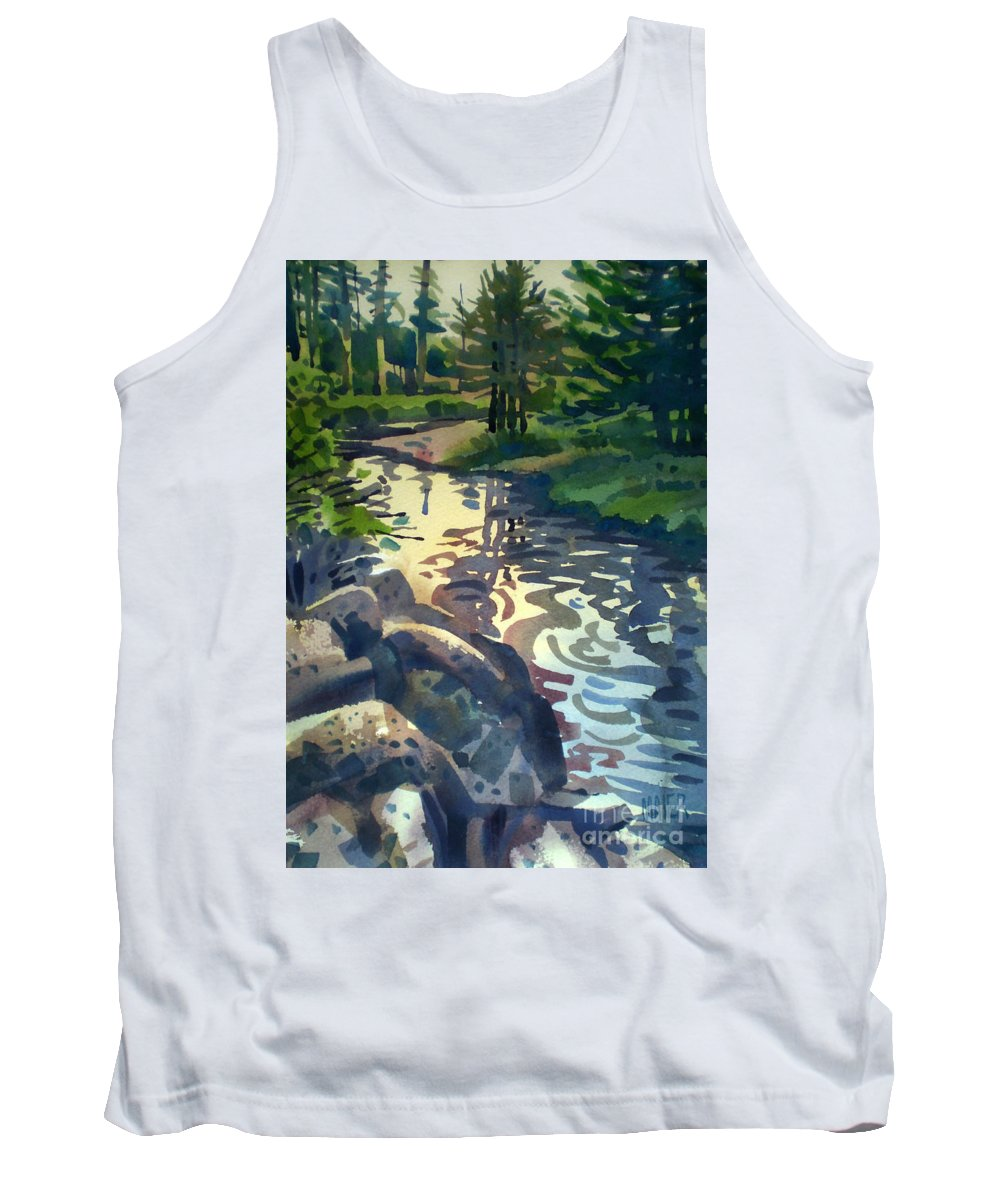 Stream Tank Top featuring the painting Up With The Fishes by Donald Maier