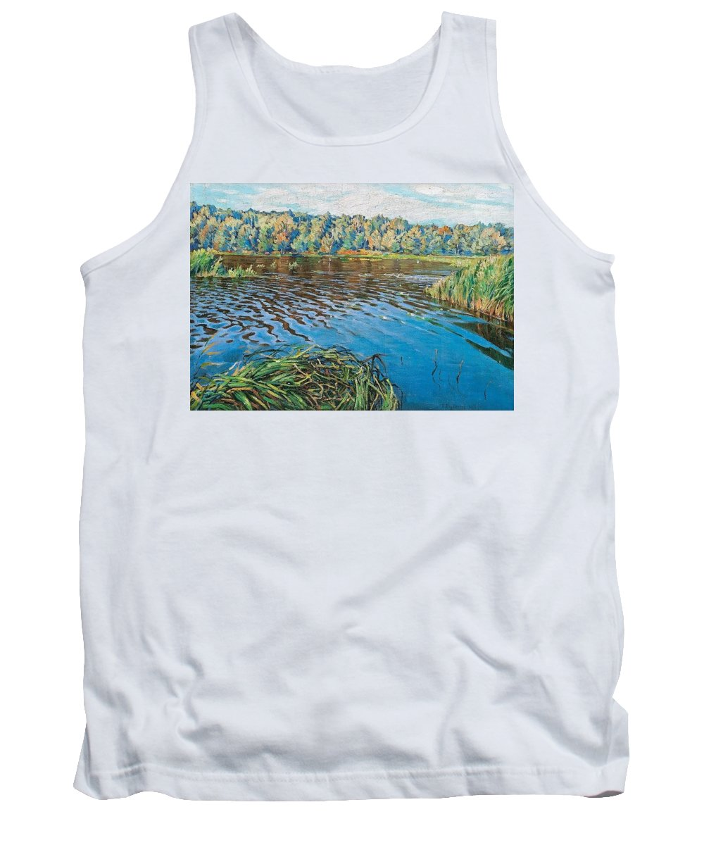 Aquatic Tank Top featuring the digital art View Of The Lake Nikolai Petrovich Bogdanov-belsky by Eloisa Mannion