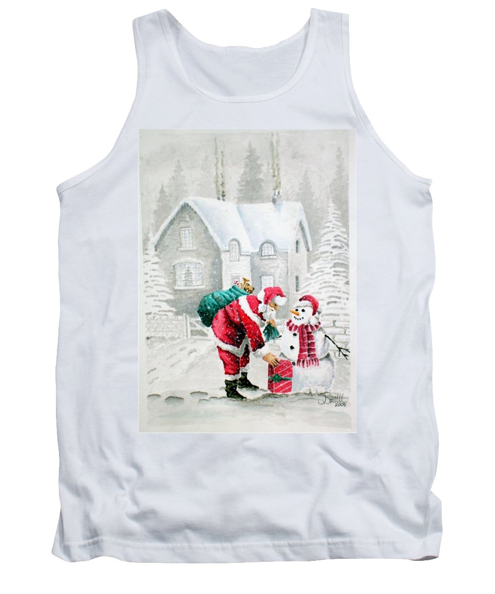 Christmas Tank Top featuring the painting White Christmas by Jimmy Smith