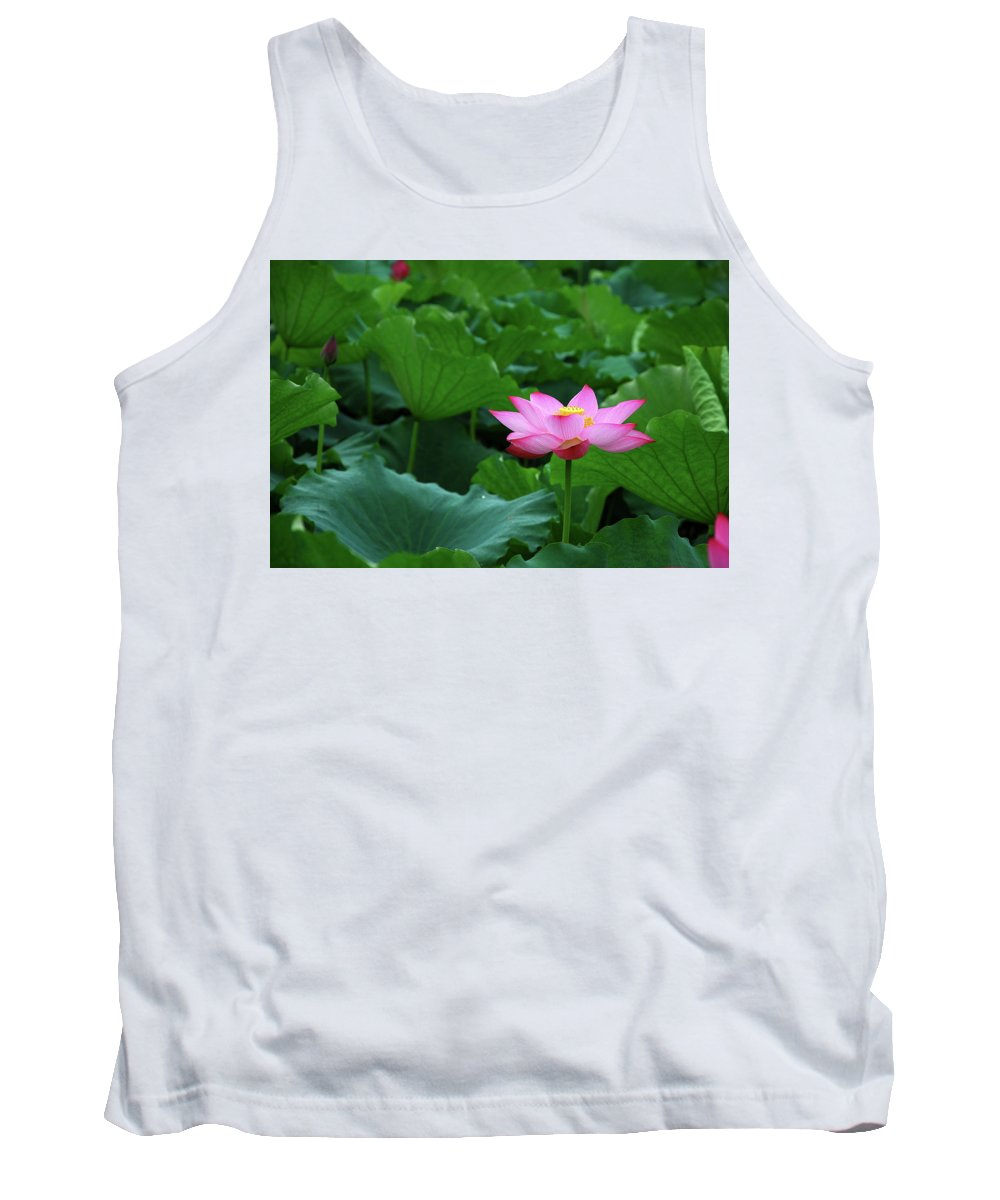 Lotus Tank Top featuring the photograph Blossoming Lotus Flower Closeup by Carl Ning