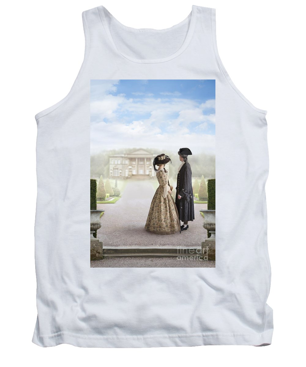 Georgian Tank Top featuring the photograph 18th Century Georgian Couple Looking Towards A Country Estate by Lee Avison