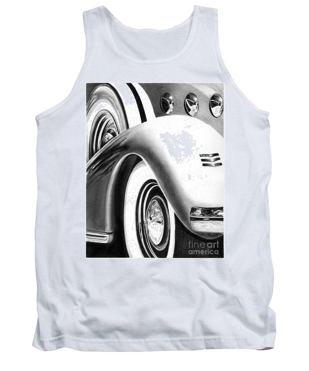 1935 Lasalle Abstract Tank Top featuring the drawing 1935 Lasalle Abstract by Peter Piatt
