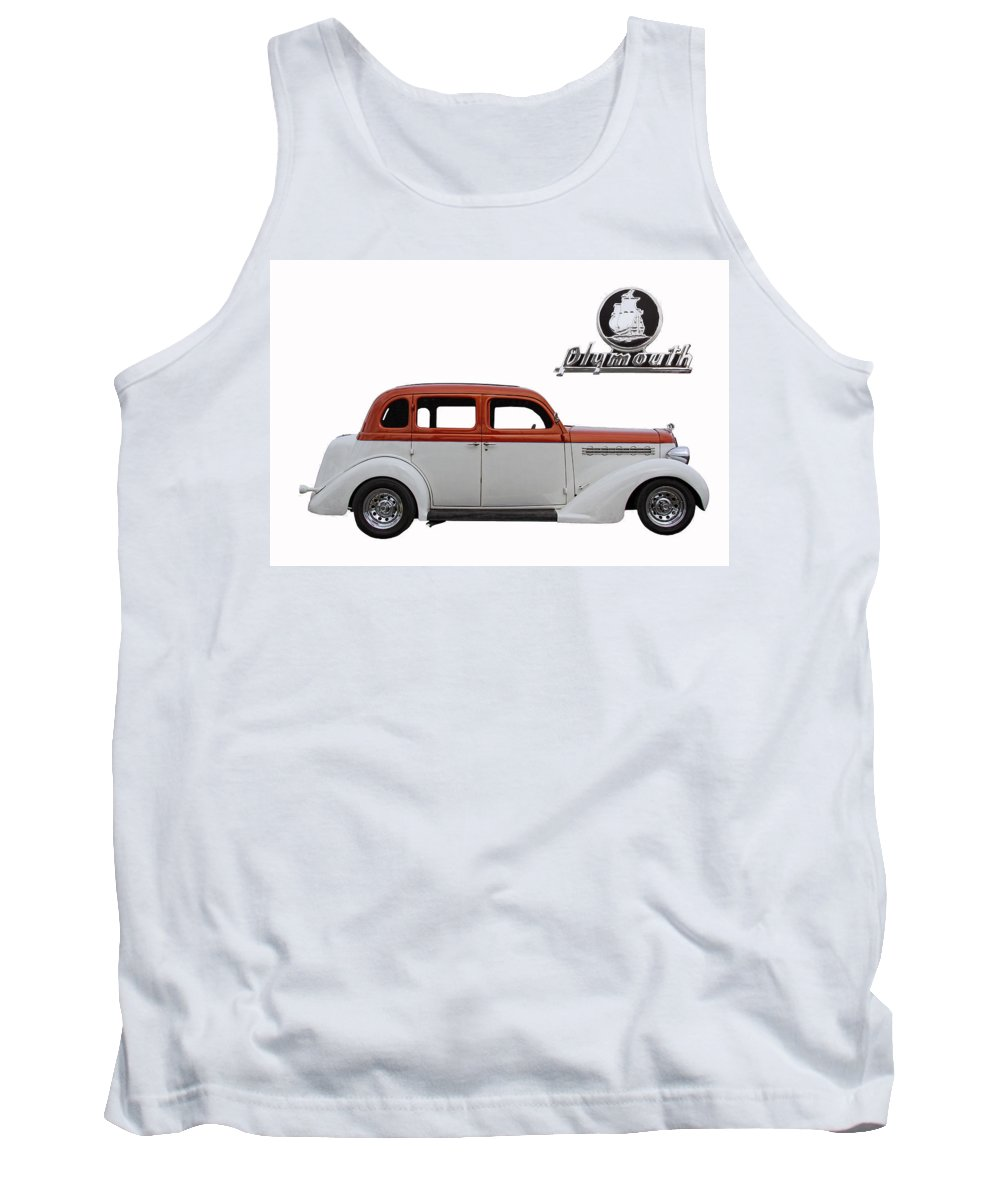 1935 Tank Top featuring the photograph 1935 Plymouth With Insignia by Nick Gray