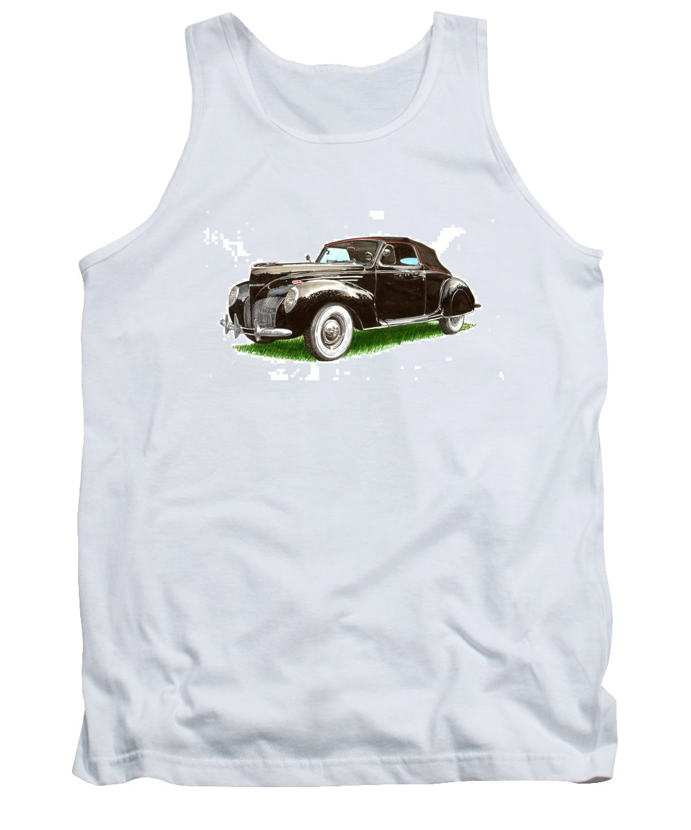Black Convertibles Tank Top featuring the painting 1937 Lincoln Zephyer by Jack Pumphrey