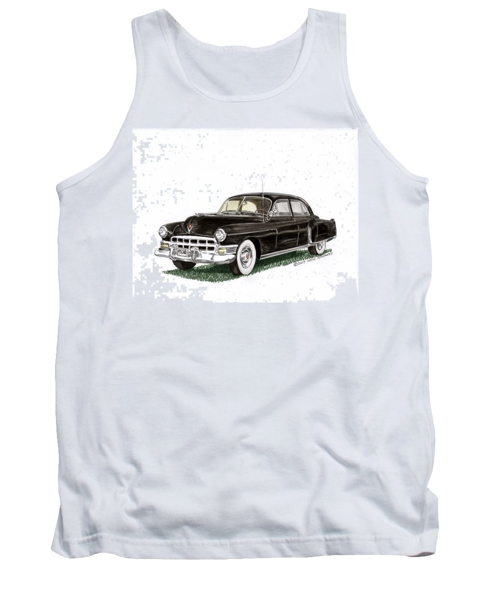 Framed Prints Of Cadillacs. Framed Canvas Prints Of Cadillac Fine Art. Famed Art Of Cadillac Hard Top Convertibles. Framed Art Of Great American Classic Cadillacs. Tank Top featuring the painting 1949 Cadillac Fleetwood Sedan by Jack Pumphrey