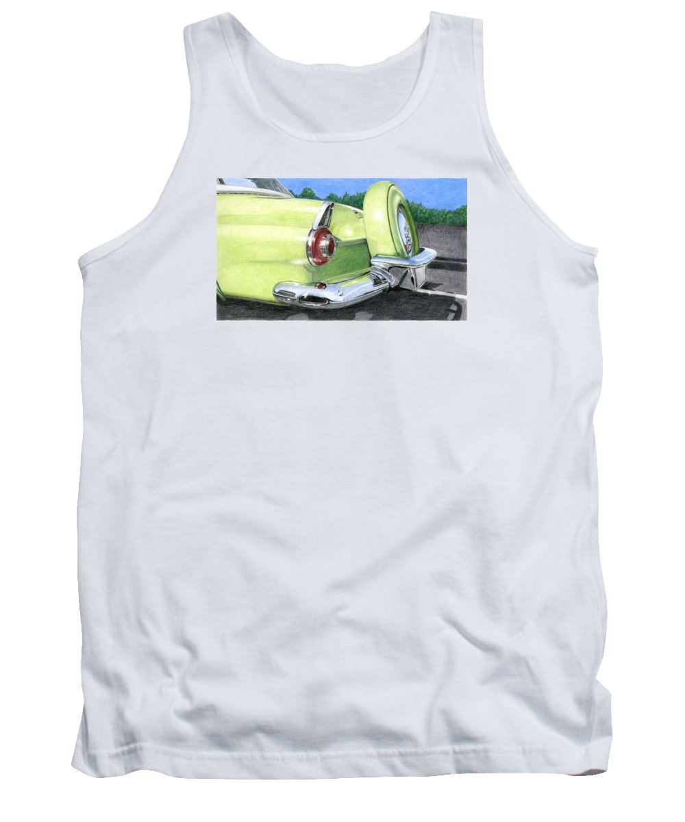 Classic Tank Top featuring the drawing 1956 Ford Thunderbird by Rob De Vries
