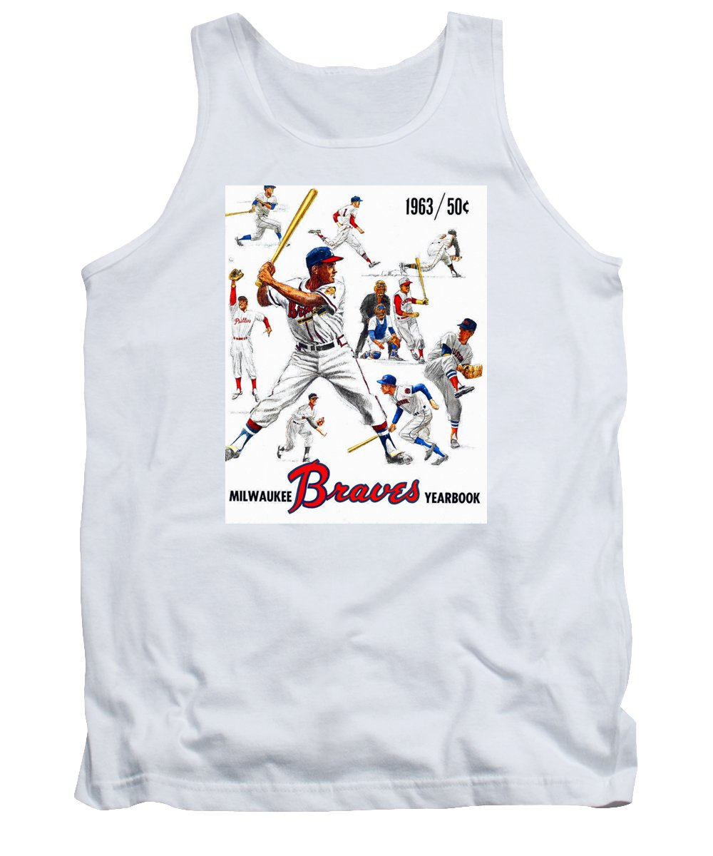 Milwaukee Braves Tank Top featuring the painting 1963 Milwaukee Braves Yearbook by John Farr