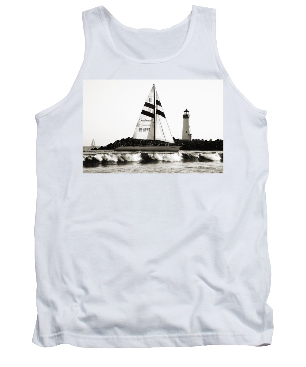 Santa Cruz Tank Top featuring the photograph 2 Boats Approach 2 by Marilyn Hunt