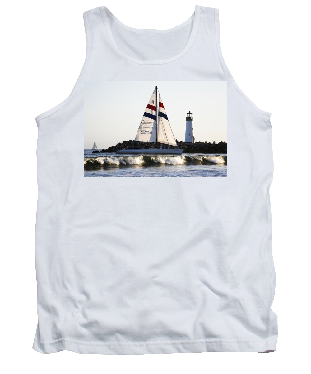 Santa Cruz Tank Top featuring the photograph 2 Boats Approach by Marilyn Hunt
