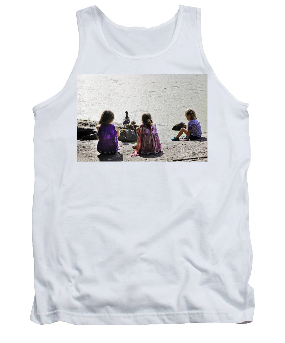 Girls Tank Top featuring the photograph Children At The Pond 5 by Madeline Ellis