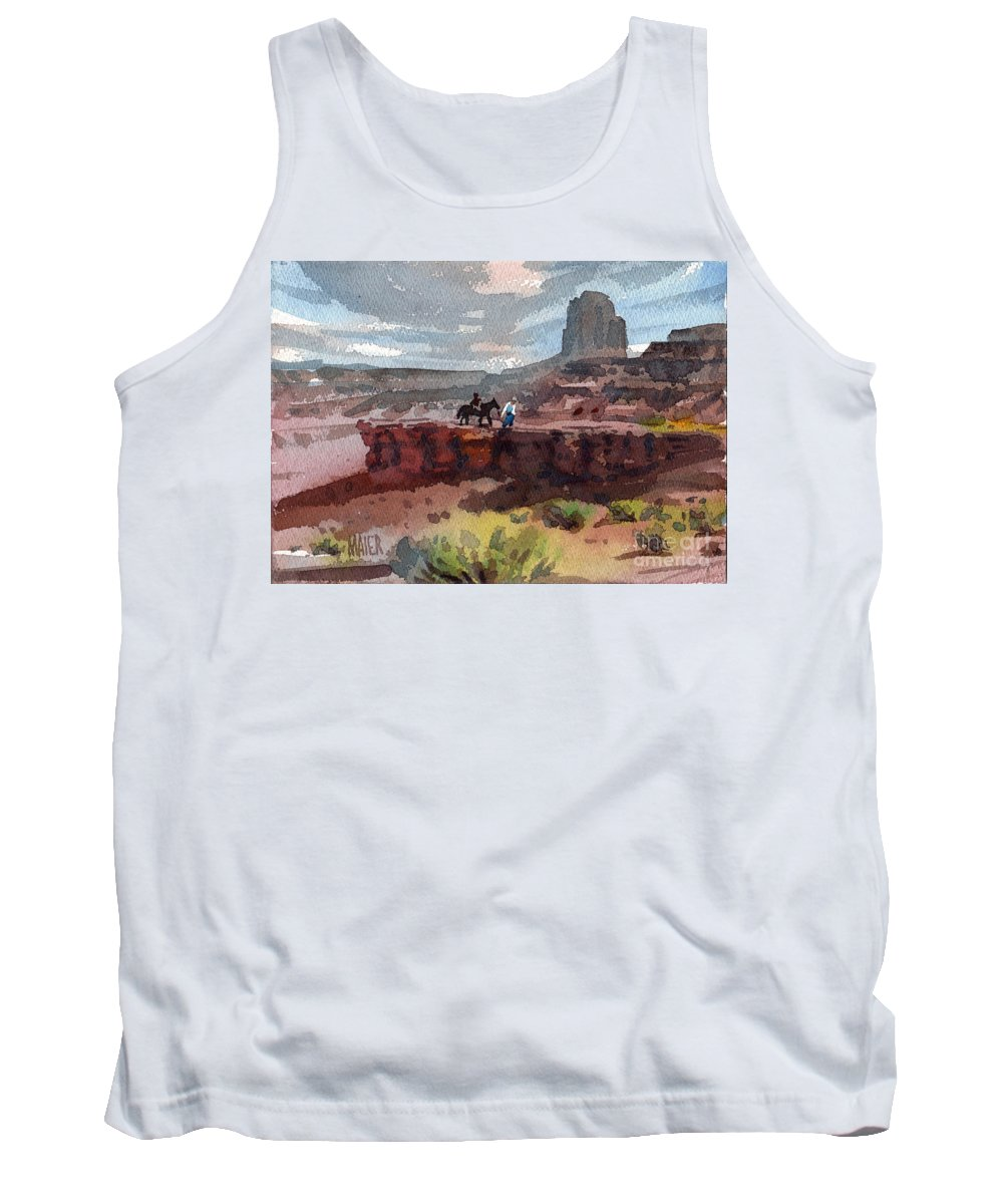 Navajo Tank Top featuring the painting Father And Son by Donald Maier