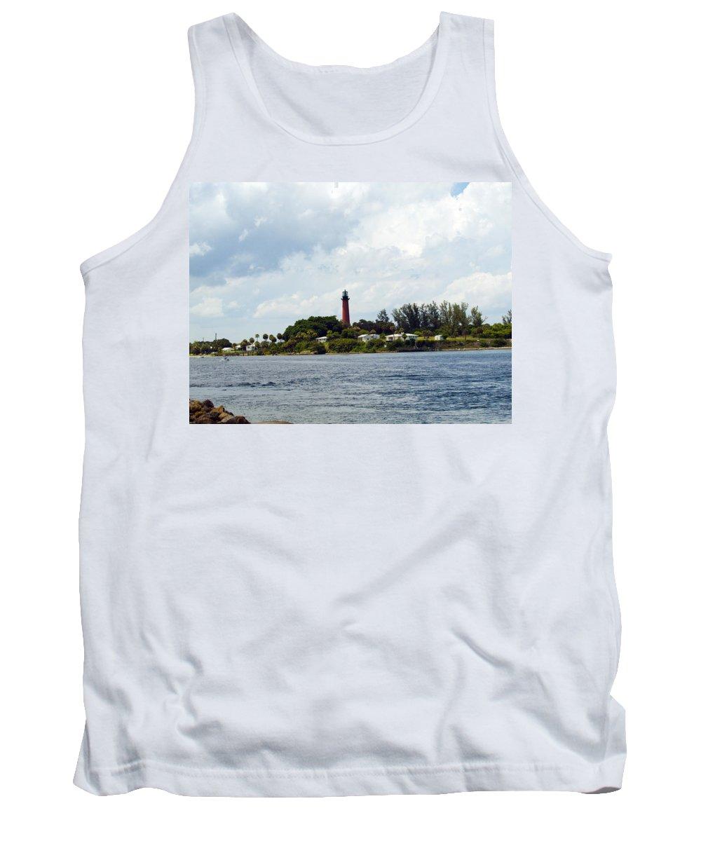 Florida; Juptier; Inlet; Loxahatchee; River; Atlantic; Coast; Shore; Beach; Light; Lighthouse; Beaco Tank Top featuring the photograph Jupiter Florida by Allan Hughes