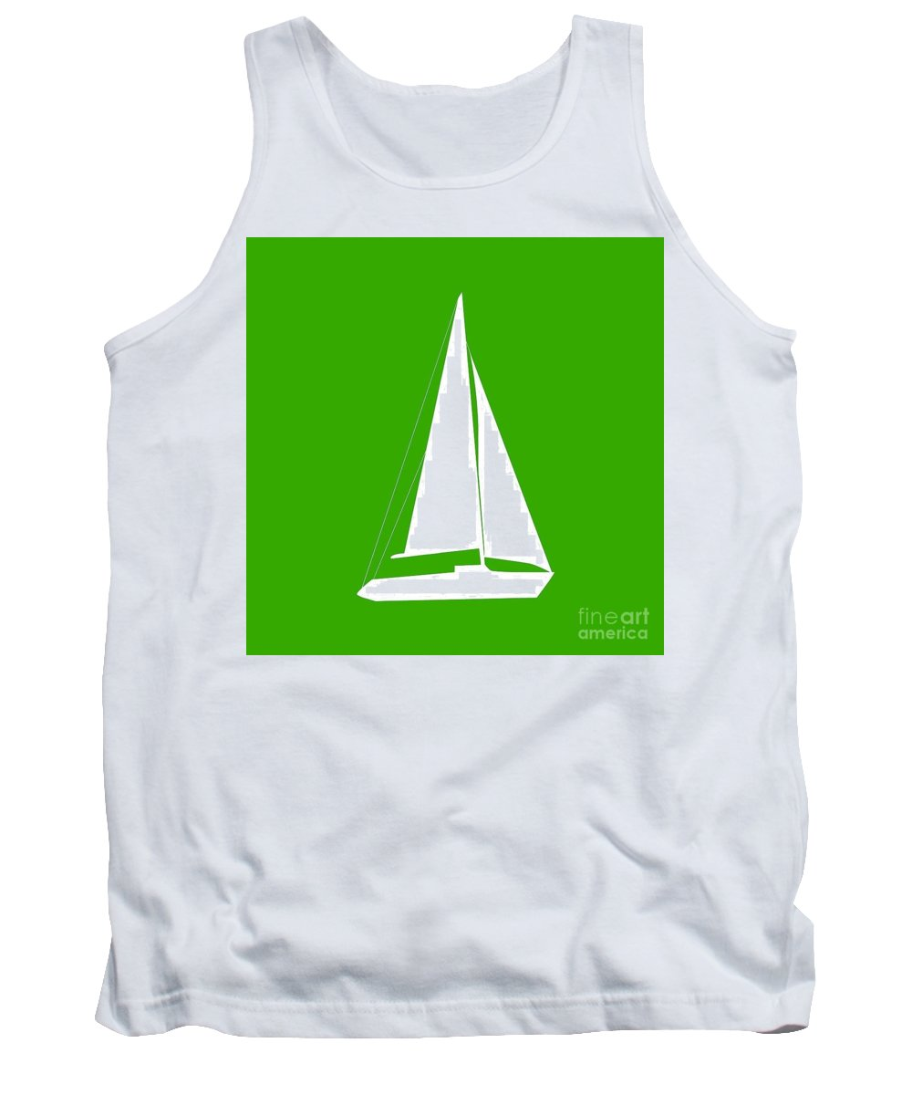 Graphic Art Tank Top featuring the digital art Sailboat In Green And White by Jackie Farnsworth