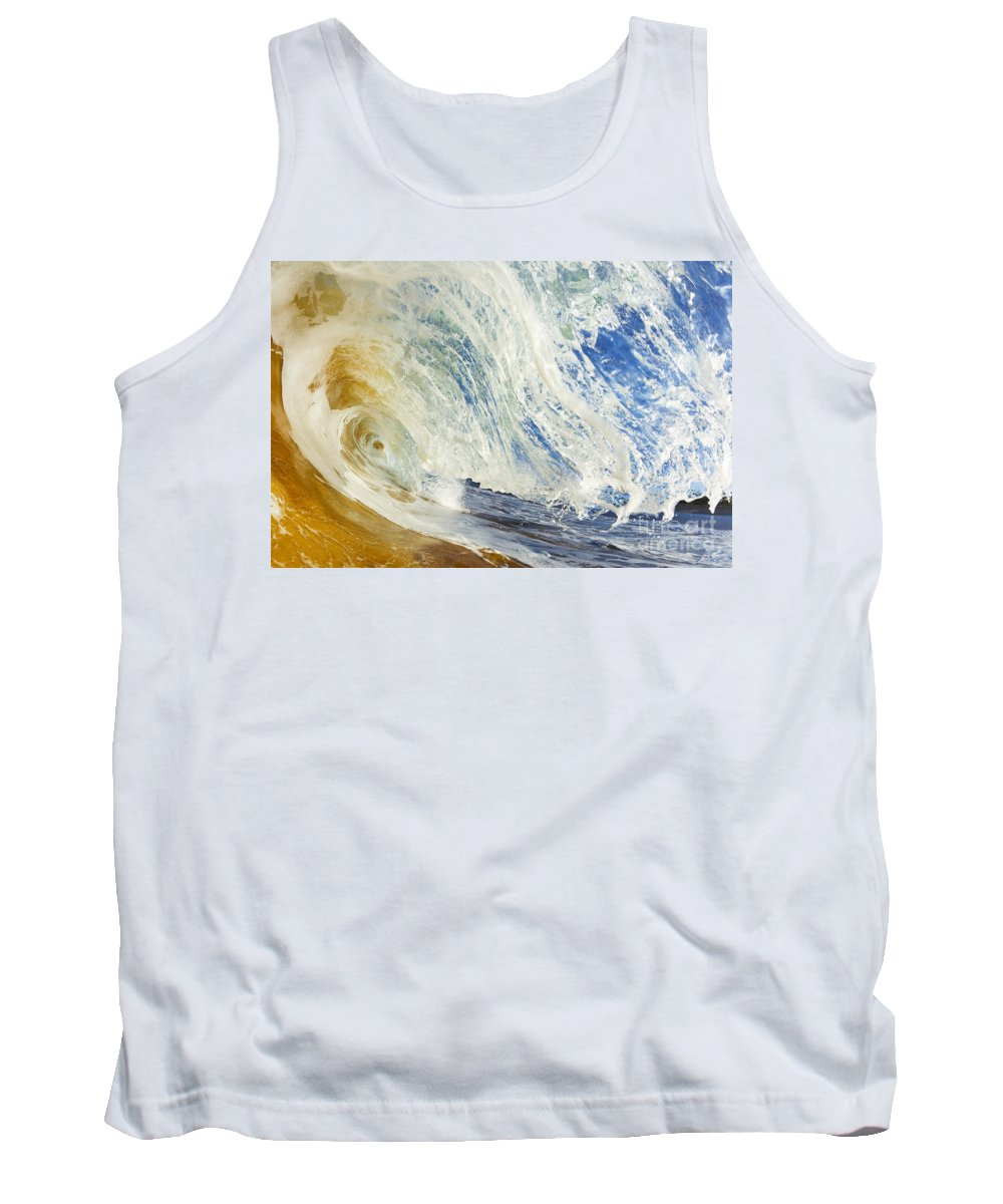 Amazing Tank Top featuring the photograph Sandy Wave Barrel by MakenaStockMedia - Printscapes