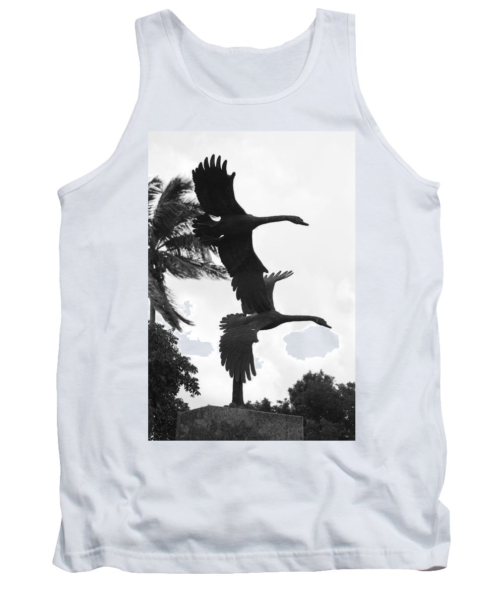 Black And White Tank Top featuring the photograph Stone Birds by Rob Hans