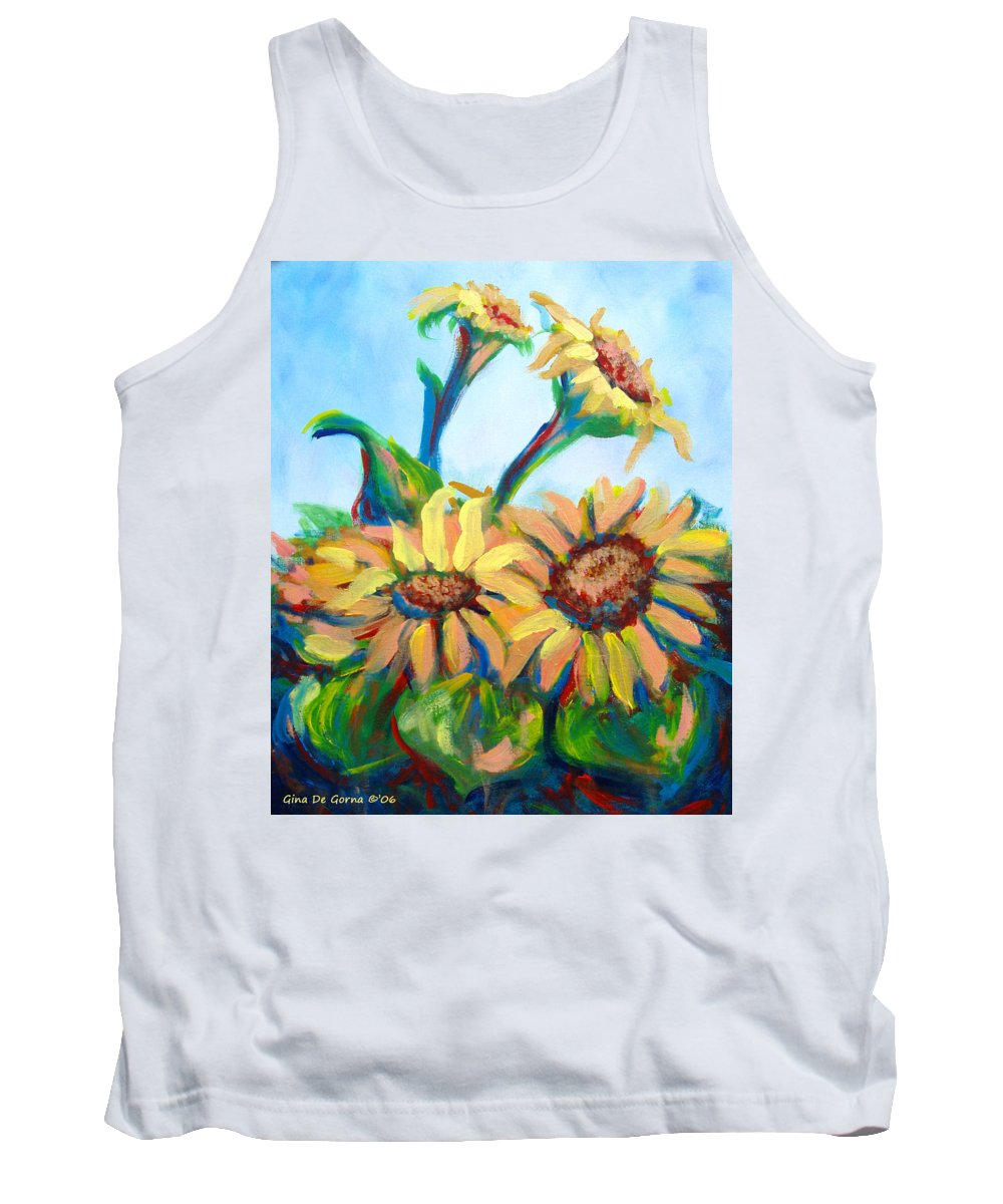 Sunflowers Tank Top featuring the painting Sunflowers 2 by Gina De Gorna