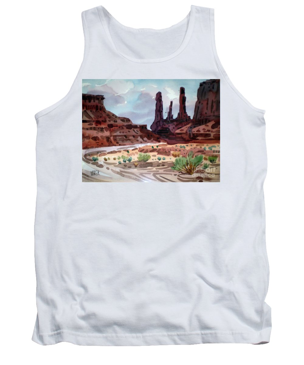 Monument Valley Tank Top featuring the painting Three Sisters by Donald Maier