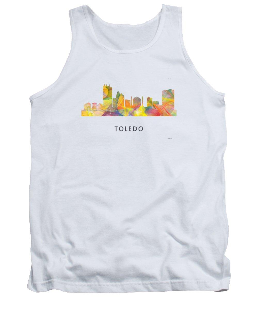Toledo Ohio Skyline Tank Top featuring the digital art Toledo Ohio Skyline by Marlene Watson